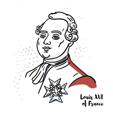 Photo pour Louis XVI of France flat colored vector portrait with black contours. The last King of France before the fall of the monarchy during the French Revolution. - image libre de droit