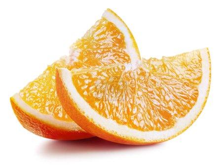 Photo pour Tranche d'orange fruit isolé sur fond blanc. Tracé de détourage orange - image libre de droit