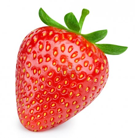 Photo for Strawberries isolated on white background. Ripe fresh strawberry Clipping Path. Professional - Royalty Free Image