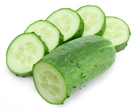 Photo for Cucumber and slices isolated on white background. Cucumber Clipping Path. Professional - Royalty Free Image