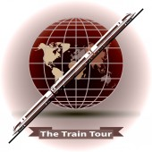 Train tour Modern train on a globe background Time to travel round-world Trendy concept for infographics catalogs information Globe and Train vector illustration Theme of tourism and recreation