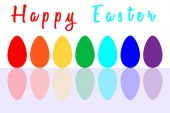 Set of Seven Easter Eggs Painted in Rainbow Colors