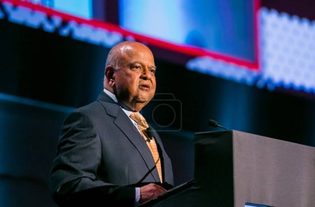 Johannesburg, South Africa, November 23, 2017 Pravin Gordhan the Ex Finance Minister of South Africa speaking at The Gathering, a 1 day event focused on the ANC ELECTIVE CONFERENCE 2017