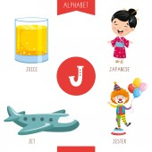 Vector Illustration Of Alphabet Letter J And Pictures