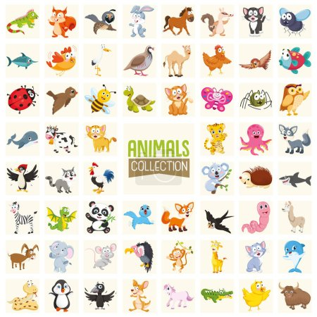 Photo pour Illustration vectorielle de la collection d'animaux de bande dessinée - image libre de droit
