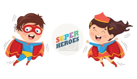 Illustration for Vector Illustration Of Superheroes - Royalty Free Image