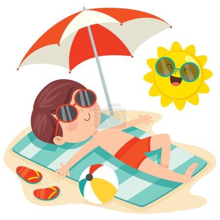 Illustration pour Caractère de bande dessinée Bain de soleil sur la plage - image libre de droit