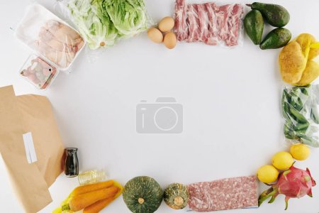 Photo for Culinary background with meat, vegetables and fruits prepared for contact free delivery - Royalty Free Image