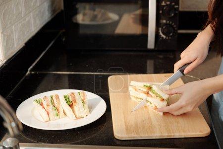 Photo pour Femme au foyer coupe sandwich au poulet en petits triangles lors de l'organisation de la plaque de collation - image libre de droit