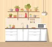 White cosy kitchen interior with furniture sink lamp and microwave oven big shelf with different plant dishes - teapot pan bowls mugs utensils Modern flat style vector isolated