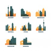 Canada cities icons set skyline vector logo pack