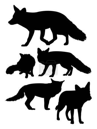 Illustration pour Silhouette de loups. Bon usage pour le symbole, logo, icône web, mascotte, signe, ou tout autre design que vous voulez . - image libre de droit