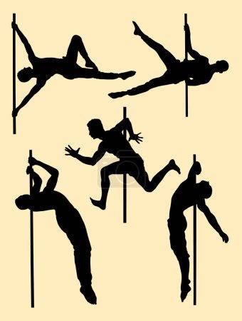Illustration pour Silhouette de danseur masculin. Bon usage pour le symbole, logo, icône web, mascotte, signe, ou tout autre design que vous voulez . - image libre de droit