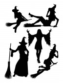 Witch silhouette 02 Good use for symbol logo web icon mascot sign or any design you want