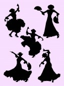 Woman dancing flamenco silhouette 01 Good use for symbol logo web icon mascot sign or any design you want