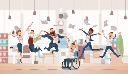 Illustration pour Heureux employés de bureau qui sautent. Bureau Fun. Les gens travaillent au bureau. Travailleurs heureux en milieu de travail. Culture d'entreprise en entreprise. Joyeux jour de travail. Chers collègues au travail. Illustration vectorielle . - image libre de droit