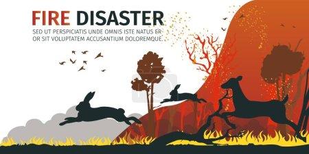 Illustration Cartoon Animal escaping from Danger