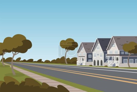 Illustration for Vector illustration road along the inhabited city. Vector illustration of a cartoon road passing through a small populated town with townhouses. The concept of life outside the city - Royalty Free Image