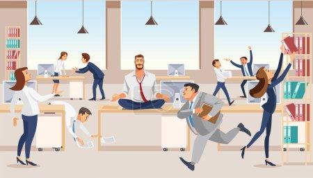 Illustration pour Pratiquer le yoga sur le lieu de travail Concept vectoriel plat avec un homme d'affaires ou un employé de l'entreprise Méditer, assis dans Lotus Poser sur le bureau au milieu du bureau bruyant avec occupé et pressant collègues Illustration - image libre de droit