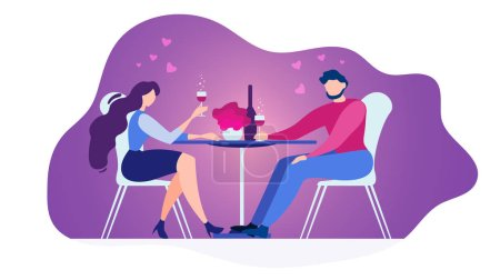 Illustration for Romantic Date in Restaurant Flat Vector Concept Isolated on White Background. Couple in Love Sitting at Diner Table in Cafe, Drinking Wine, Celebrating Anniversary Illustration. Valentines Day Dating - Royalty Free Image