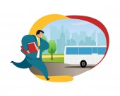 Businessman Running after Bus Vector Illustration Office Worker in Suite with Briefcase Hurrying up Busy Stressed Employee Rushing Working-Day Daily Routine Flat Color Cartoon Clipart