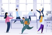 Work Rush Office Chaos Flat Vector Illustration Busy Stressed Office Workers Fussing Characters Job Routine Deadline Working-Day Shift Cartoon Clipart Employees at Workplace Color Concept