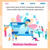 Illustration Online Doctor Survey Group People Banner Vector Medicine Healthcare Pediatrician Examines Patient from Screen Laptop Monitor People Seeking Medical Help from Doctor Choice Treatment