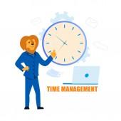 Time Management Flat Cartoon Vector Illustration