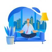 Office Worker Meditating Flat Vector Illustration