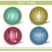 Test Tube Laboratory Glassware Icon Set Flasks