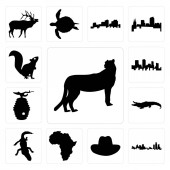 Set Of 13 simple editable icons such as cheetah outline on white background michigan state cowboy hat background can be used for mobile web UI