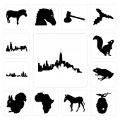 Set Of 13 simple editable icons such as outline of manhattan on white background beehive zebra background can be used for mobile web UI