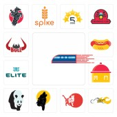 Set Of 13 simple editable icons such as railway chopper cat black wolf  homemade food the elite hot dog bull horn can be used for mobile web UI