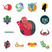 Set Of 13 simple editable icons such as boxer olive leaves hot dog crab equestrian bull horn fortress silver star grape leaves can be used for mobile web UI