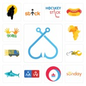 Set Of 13 simple editable icons such as fishing hook sunday heating cooling restroom sharks chopper free delivery africa map 10 years can be used for mobile web UI