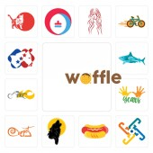 Set Of 13 simple editable icons such as waffle generic hot dog black wolf carpet 10 years chopper sharks democrat can be used for mobile web UI
