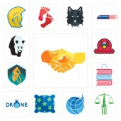 Set Of 13 simple editable icons such as hand shake scales of justice logistics company pillow  book shop mountain bike motorcycle club can be used for mobile web UI