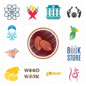 Set Of 13 simple editable icons such as cacao pregnancy gamer woodwork chick book store catering services  jellyfish can be used for mobile web UI