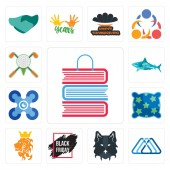 Set Of 13 simple editable icons such as book shop 3 triangle wolf face black friday sale royal lion pillow drones sharks golf tournament can be used for mobile web UI
