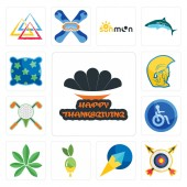 Set Of 13 simple editable icons such as happy thanksgiving archery paper plane olive oil pot leaf disabled golf tournament warrior head pillow can be used for mobile web UI