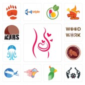 Set Of 13 simple editable icons such as pregnancy revolver  catering services aeroplane cacao jellyfish woodwork mars can be used for mobile web UI