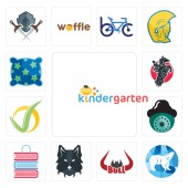 Set Of 13 simple editable icons such as kindergarten polar bull horn wolf face book shop security camera checkmark equestrian pillow can be used for mobile web UI