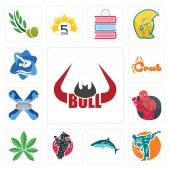 Set Of 13 simple editable icons such as bull horn martial arts  equestrian pot leaf boxer snowboard crab swim and dive can be used for mobile web UI