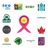 Set Of 13 simple editable icons such as breast cancer ribbon 30 year unemployment rhino free canada leaf tiara badminton camper can be used for mobile web UI
