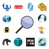 Set Of 13 simple editable icons such as focus group sector new item hipaa mamba hoopoe welding free detective brain can be used for mobile web UI