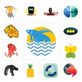 Set Of 13 simple editable icons such as betta fish taurus professional sector pinapple mamba buterfly  bat tiger can be used for mobile web UI
