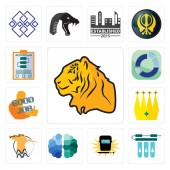 Set Of 13 simple editable icons such as tiger water filter welding free brain hoopoe crown good job sector action plan can be used for mobile web UI