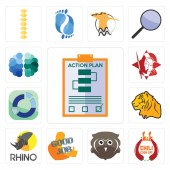 Set Of 13 simple editable icons such as action plan chili cook off free owl good job rhino tiger sector spartan brain can be used for mobile web UI