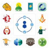 Set Of 13 simple editable icons such as tidy extend free owl brain hoopoe tour guide chili cook off masonic spartan can be used for mobile web UI