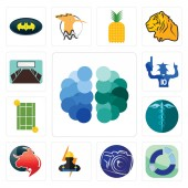 Set Of 13 simple editable icons such as free brain sector photography camera electrician taurus professional hipaa tennis court sports fan conference room can be used for mobile web UI
